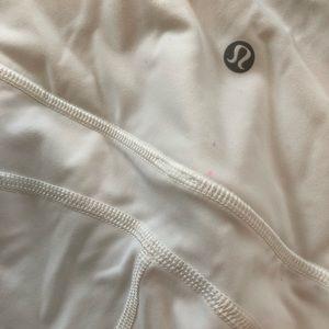 lululemon athletica Pants - Lululemon white yoga pant with Lazer cutouts